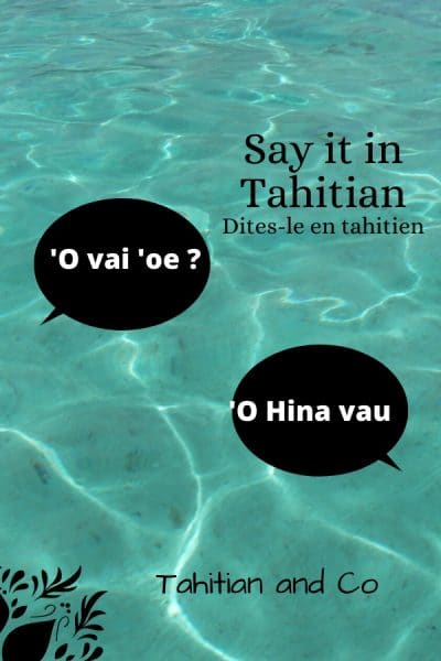 Blue pacific ocean with text 'O vai 'oe ? 'O Hina vau. To learn to introduce yourself in Tahitian. Learn Tahitian with Tahitian and Co.