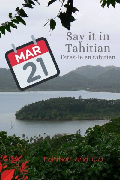 Polynesian bay and calendar to learn day and month in Tahitian