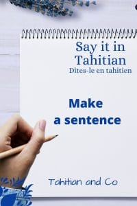 Notebook and a person holding a pen. The text on the notebook is Make a sentence. To learn how to make a sentence in Tahitian at Tahitian and Co