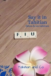 FIU written with scrabble and a pink tahitian flower. On the background, a wood paint. To learn fiu, tahitian expression at Tahitian and Co