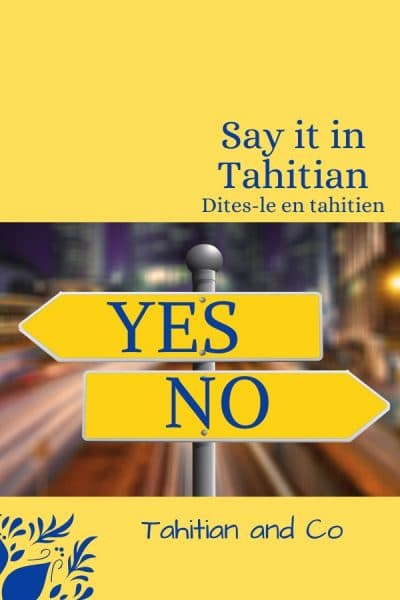 Yellow page with direction sign toward Yes and toward No. To learn yes and no in Tahitian at Tahitian and Co