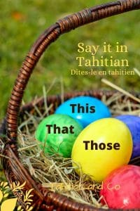 Easter eggs in a basket on the grass. To learn this, that, those in Tahitian with Tahitian and Co