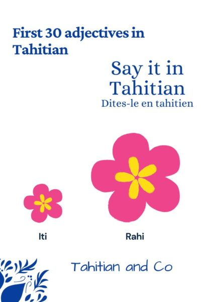 Little flower and big flower to illustrate the first 30 adjectives to learn in Tahitian