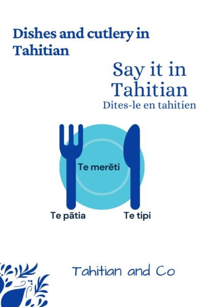 Fork, knife and plate in blue to learn dishes and cutlery in Tahitian