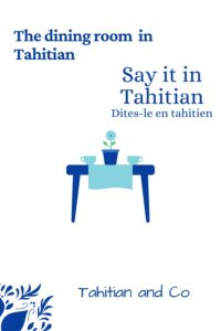 A table with 2 bowls and a flower to learn the vocabulary of the dining room in Tahitian
