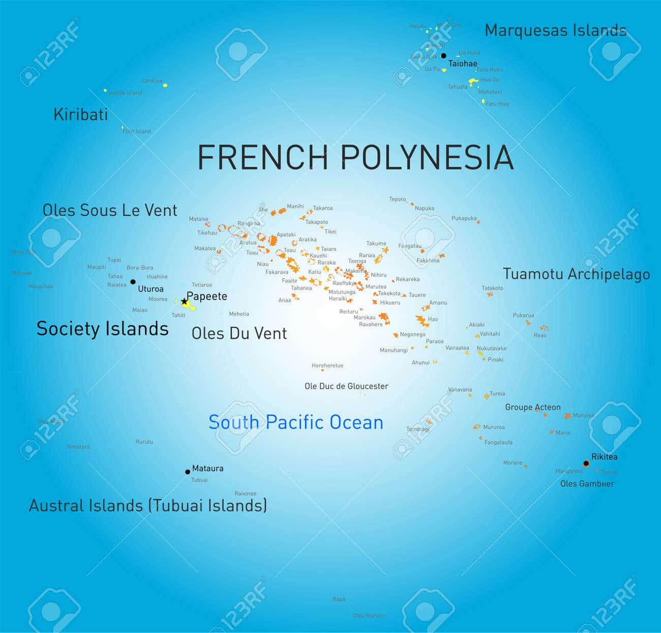 French Polynesia map to locate Tahiti