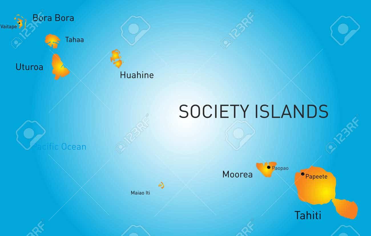 Society islands map to locate Tahiti